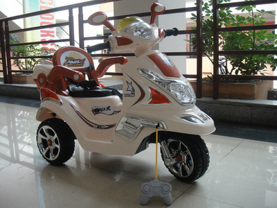 儿童遥控电动车童车三轮车可坐遥控摩托车宝宝车玩具车小木兰批发